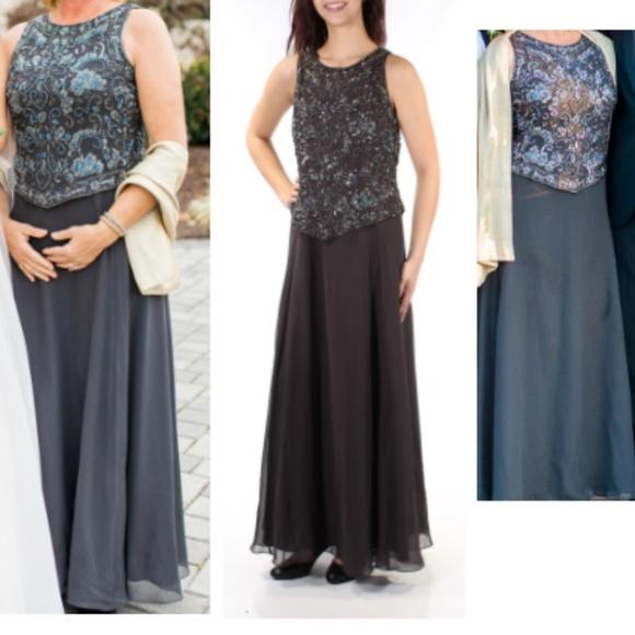 JKARA Dresses | Embellished Sleeveless Evening Gown In Grey | Poshmark